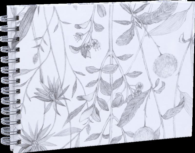 Focus Spiralalbum Blommor Vit 23x17cm
