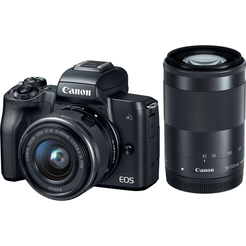Canon EOS M50 15-45 + 55-200 Svart