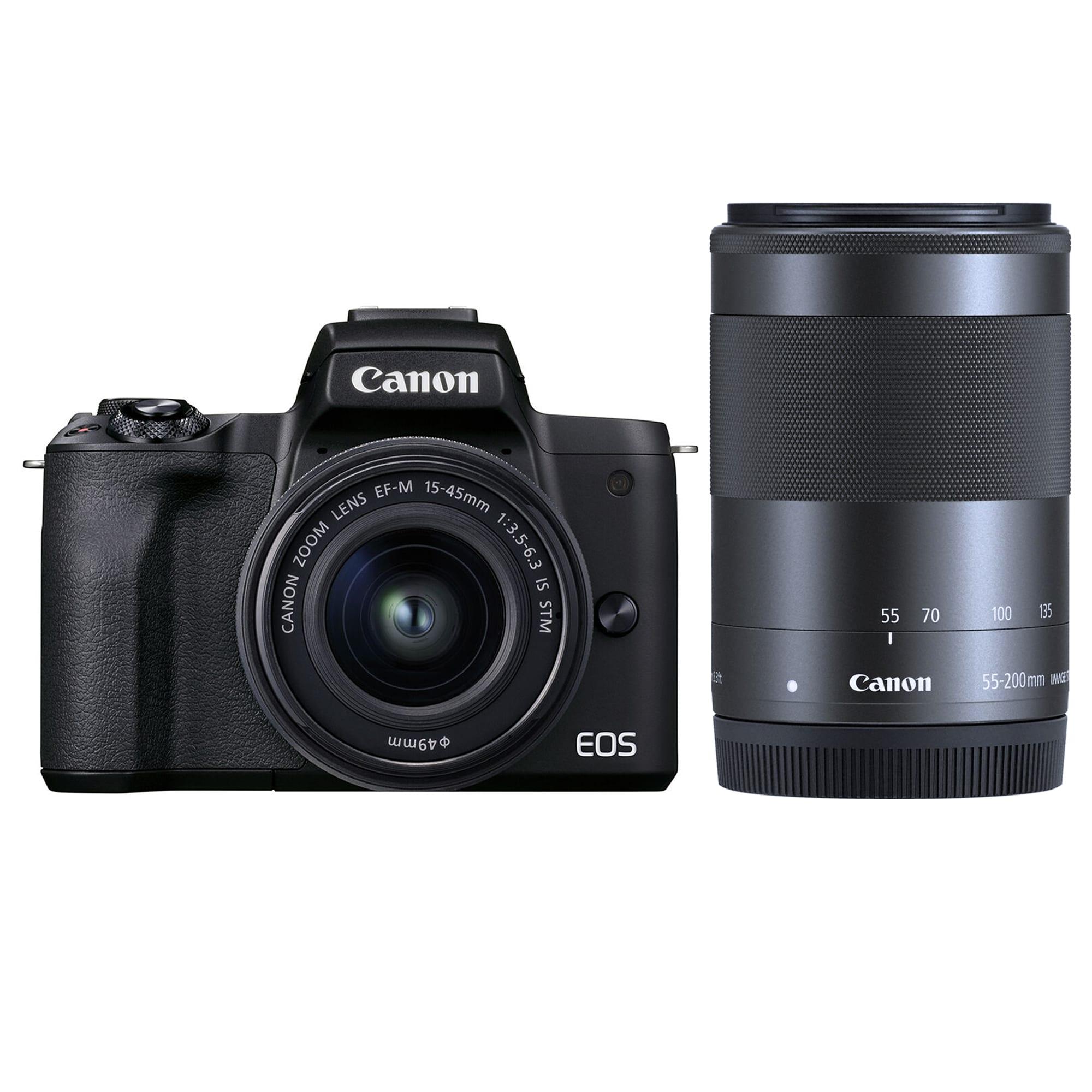 Canon EOS M50 Mark II svart kamerahus + EF-M 15-45/3,5-6,3 IS STM + EF-M 55-200/4,5-6,3 IS STM