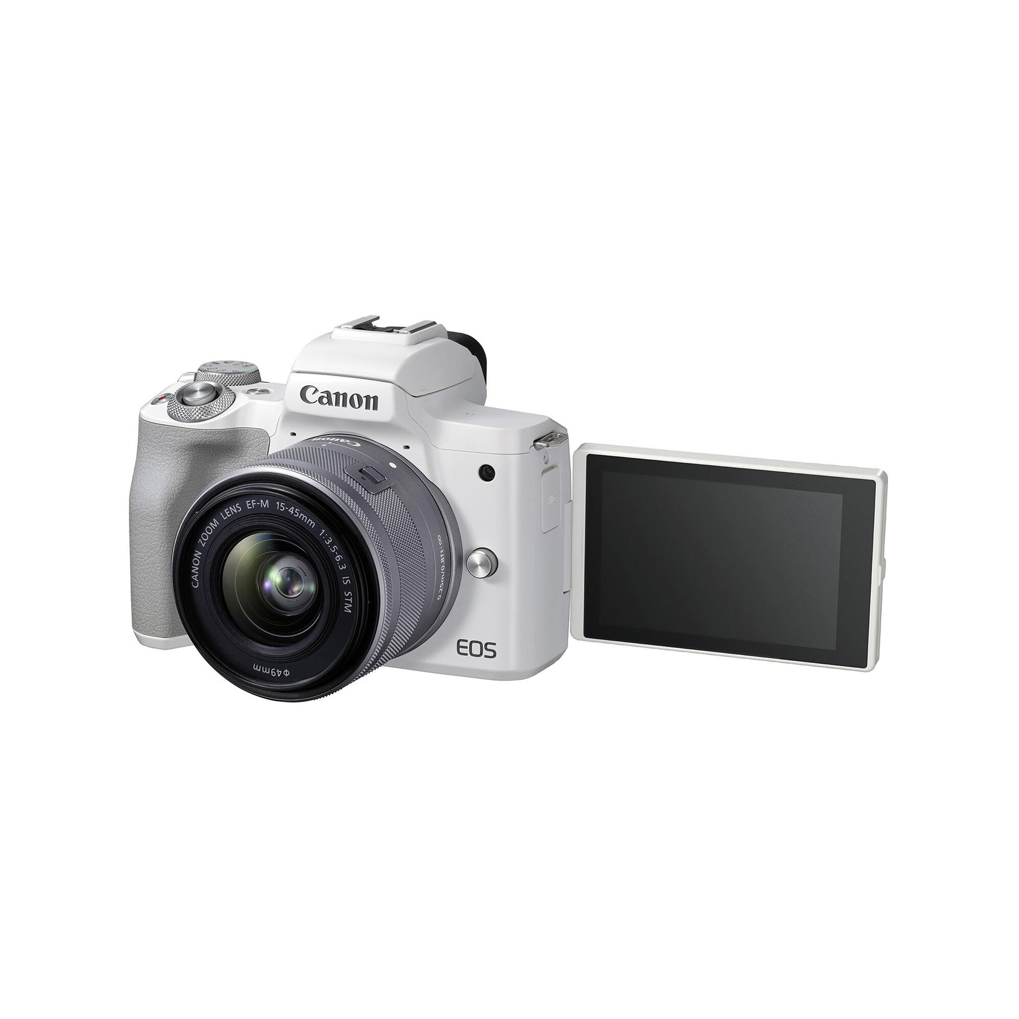 Canon EOS M50 Mark II vit kamerahus + EF-M 15-45/3,5-6,3 IS STM