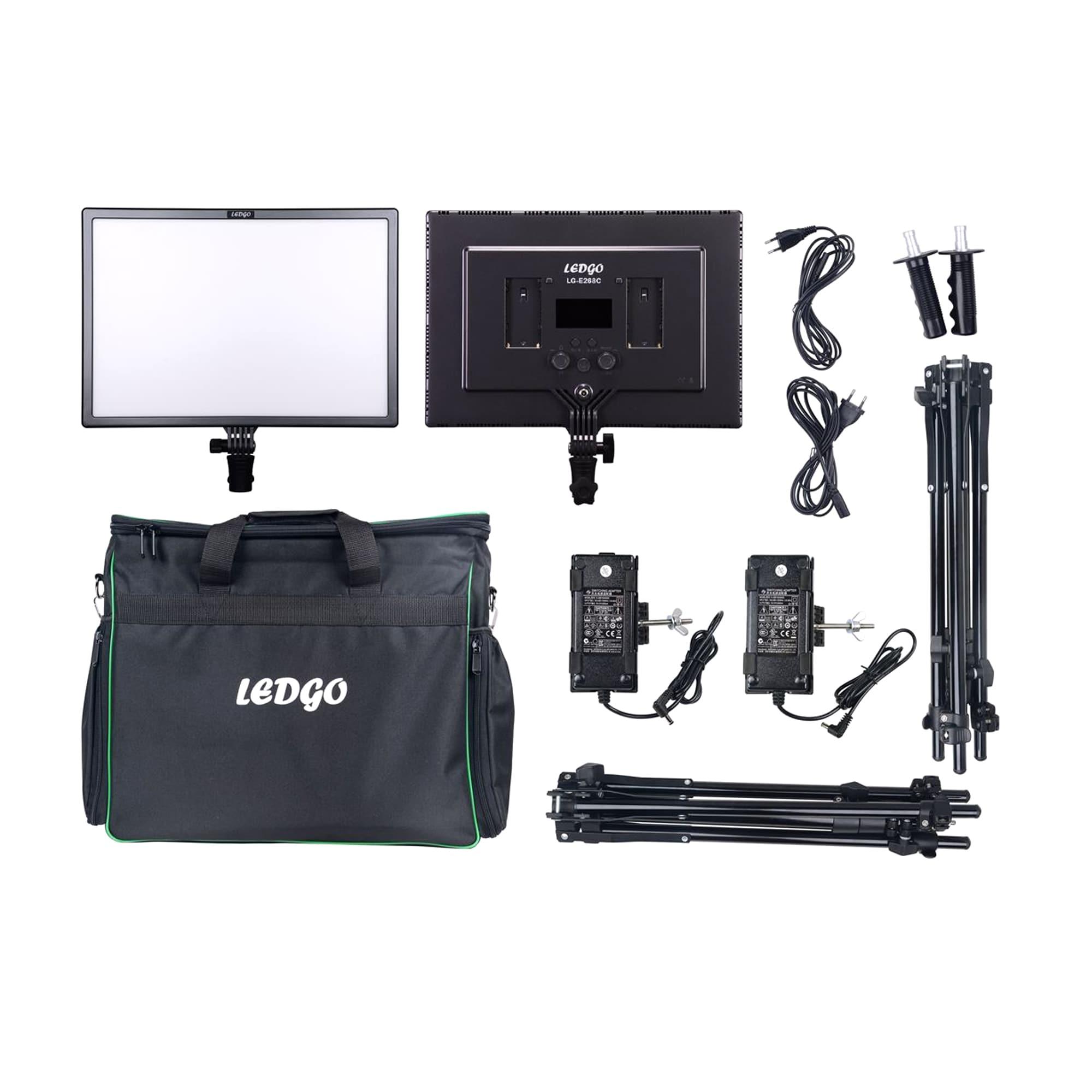 Ledgo LG-E268C paket med 2 lampor, stativ