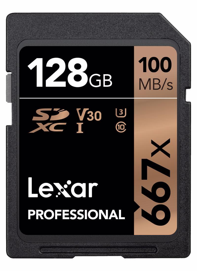 Lexar Pro 667X SDXC UHS-I U3 (V30) R100/W90 128GB