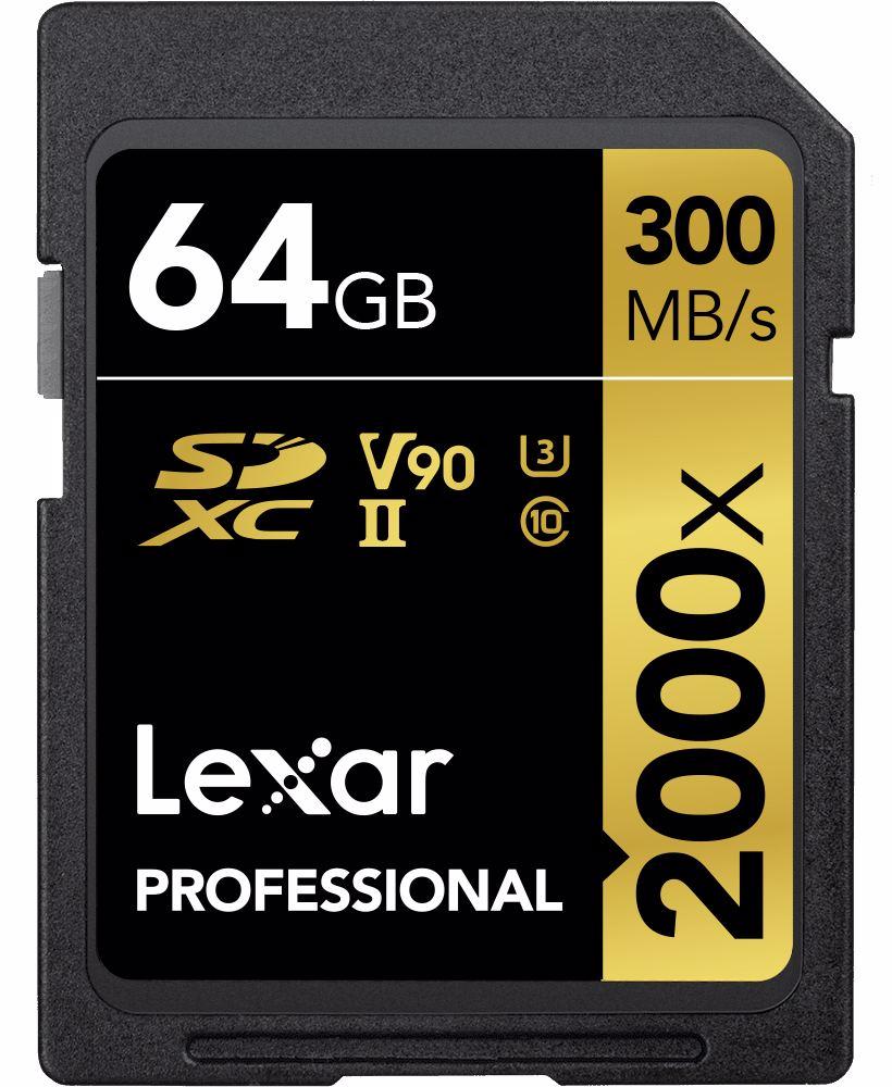 Lexar Pro 2000X SDHC/SDXC UHS-II U3(V90) R300/W260 64GB